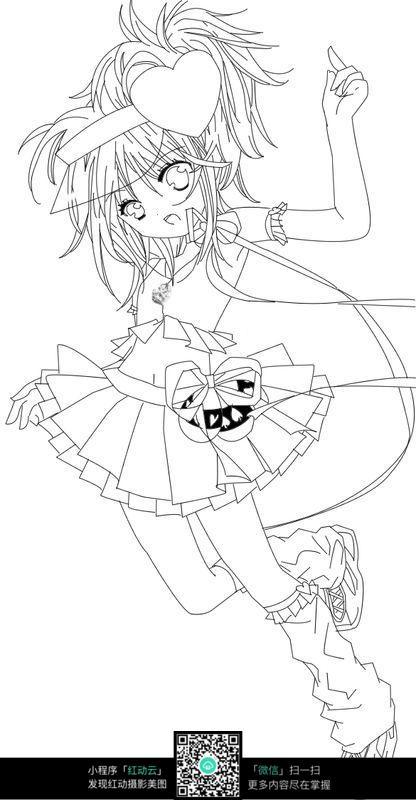 穿短裙跳跃的的卡通女孩插画