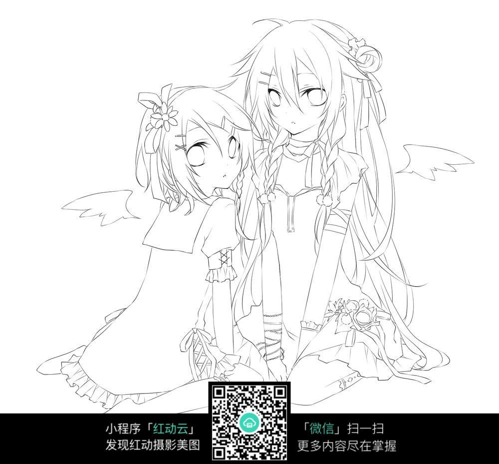 短发女孩卡通手绘线稿_乐乐简笔画