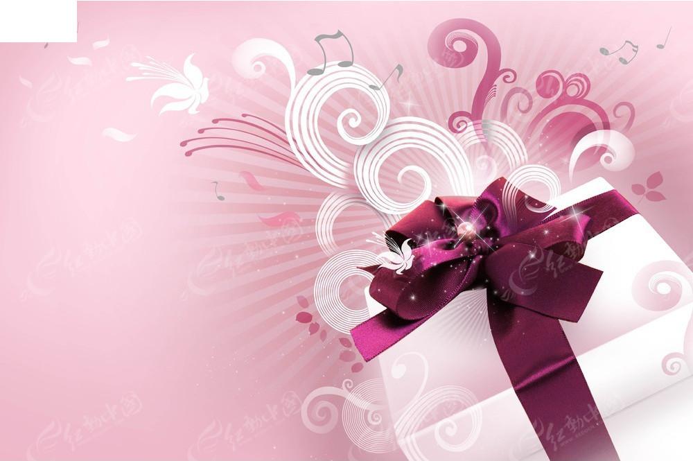 粉色创意礼品盒海报模板