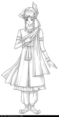 古装美女卡通手绘线稿图片