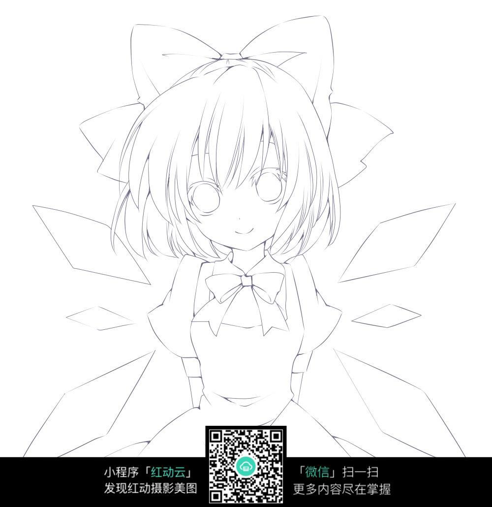 蝴蝶结女孩卡通手绘线稿图片