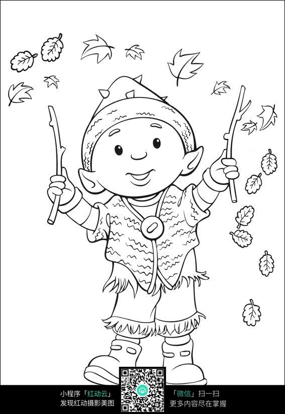 卡通表演的小男孩手绘线稿图片