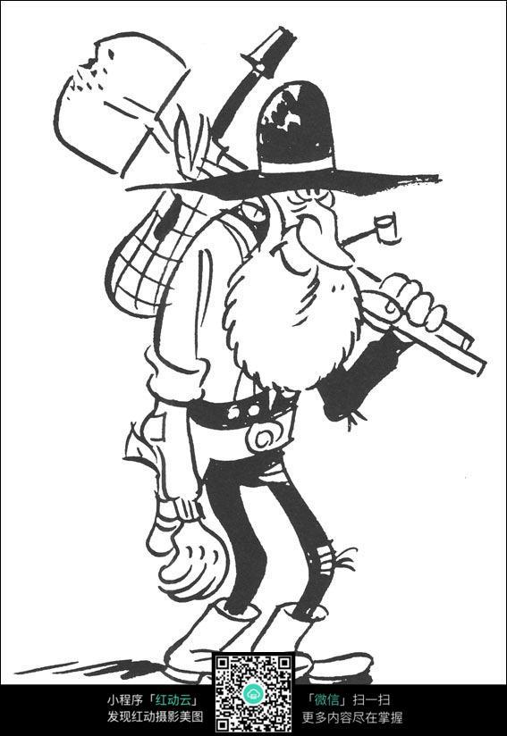 卡通出去劳作的老爷爷手绘线稿图片免费下载 红动网