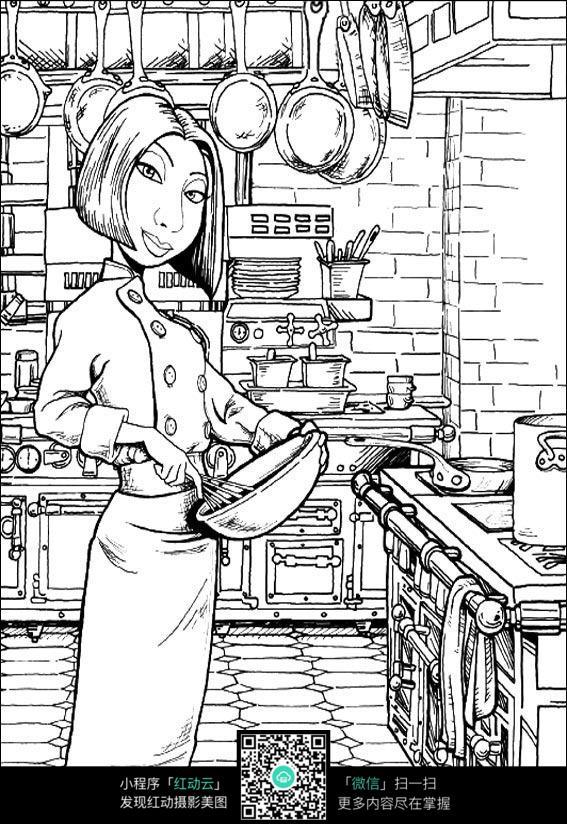 卡通厨师美女手绘线稿图