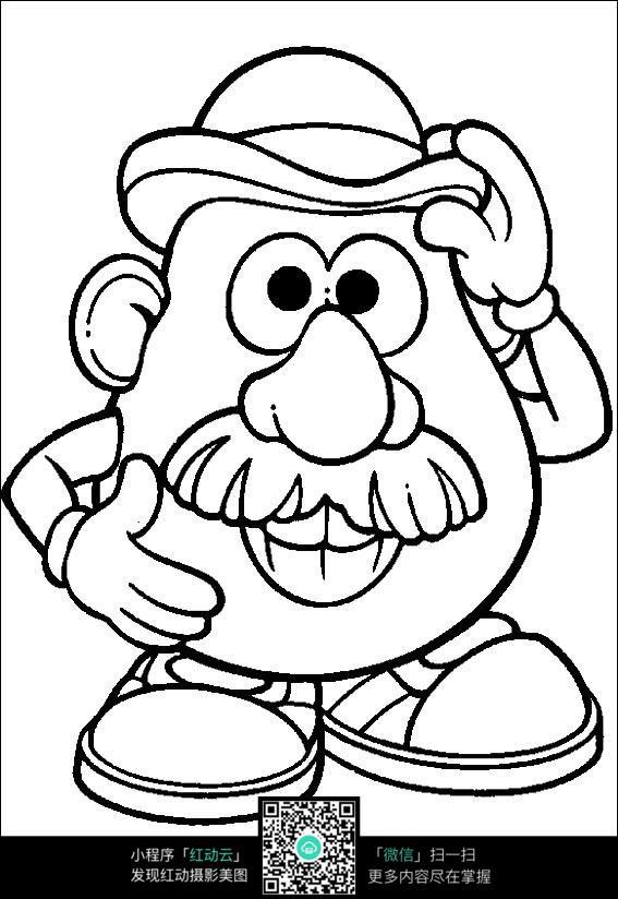 卡通戴帽子的大头爷爷手绘线稿图片_人物卡通图片