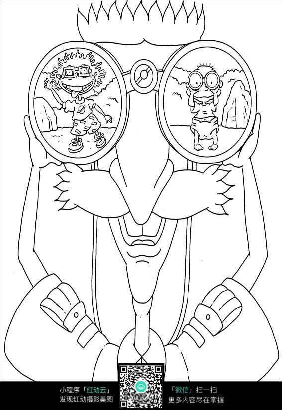 卡通戴眼镜的大爷手绘线稿图片