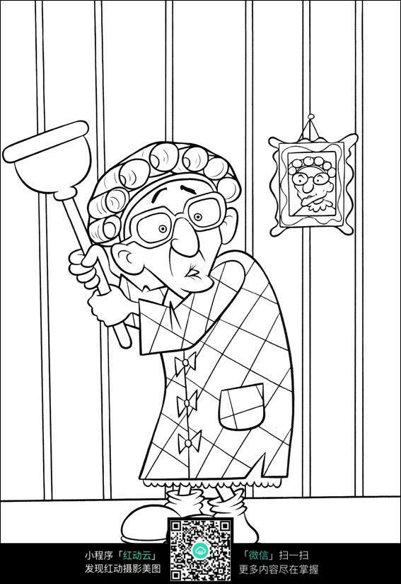 卡通打扫卫生的老奶奶手绘线稿图片