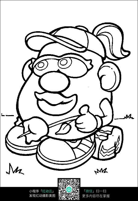 卡通大头妈妈手绘线稿图片
