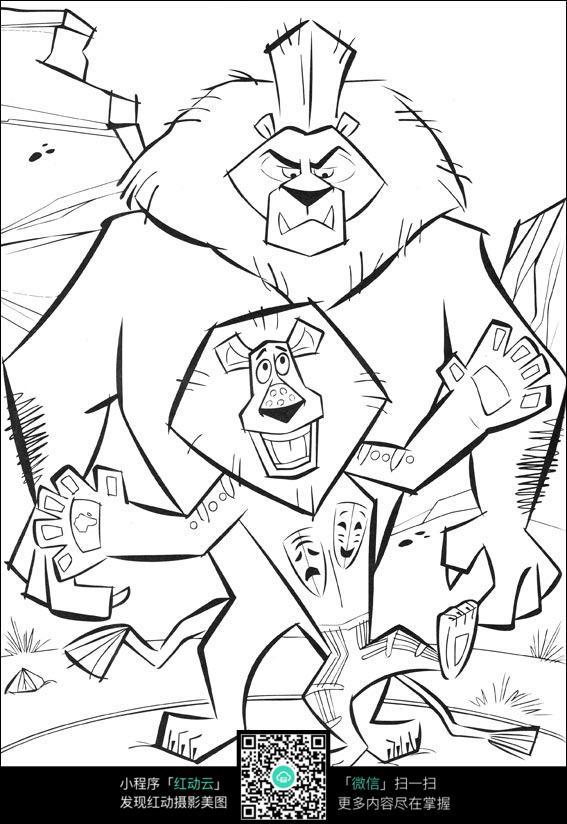 卡通大小狮子手绘线稿图片