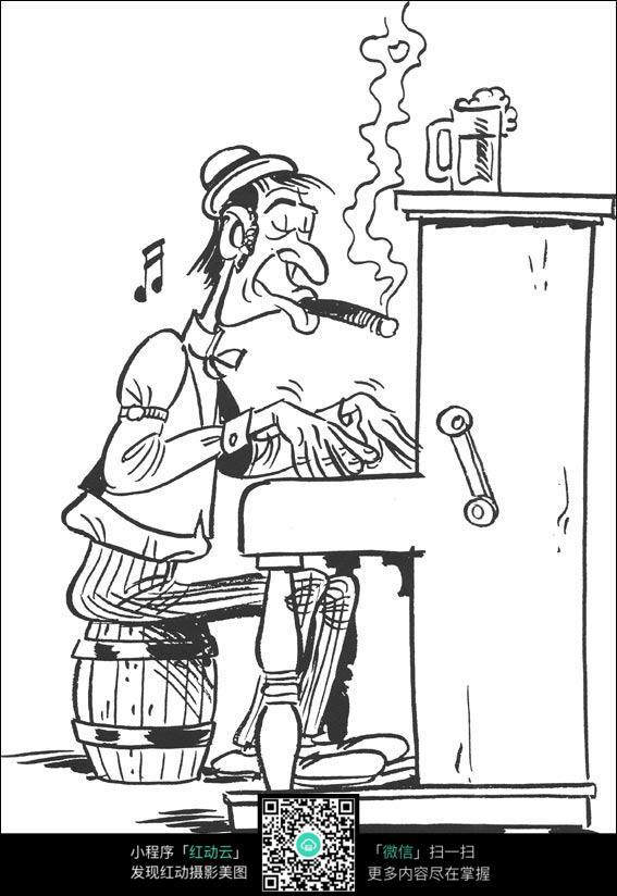 卡通打游戏的大叔手绘线稿图片