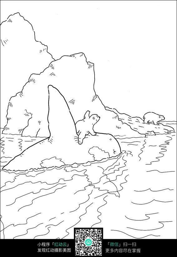 卡通动物过河手绘线稿图片