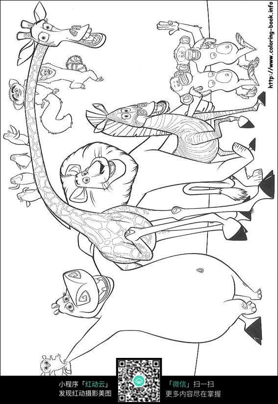 卡通动物手绘线稿图片