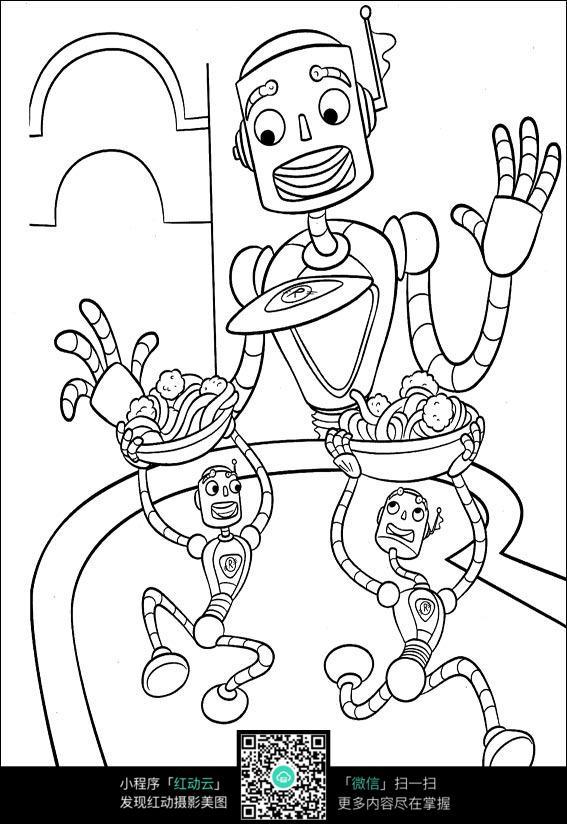 卡通城堡机器人手绘线描图片_第2页_乐乐简笔画