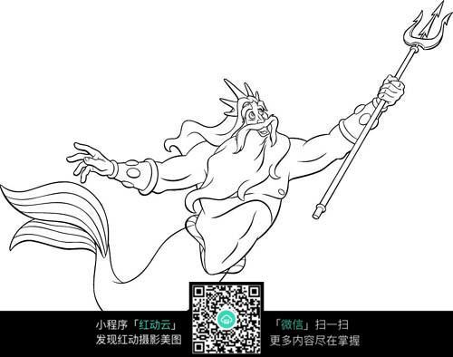 卡通飞行的鱼爷爷手绘线稿图片