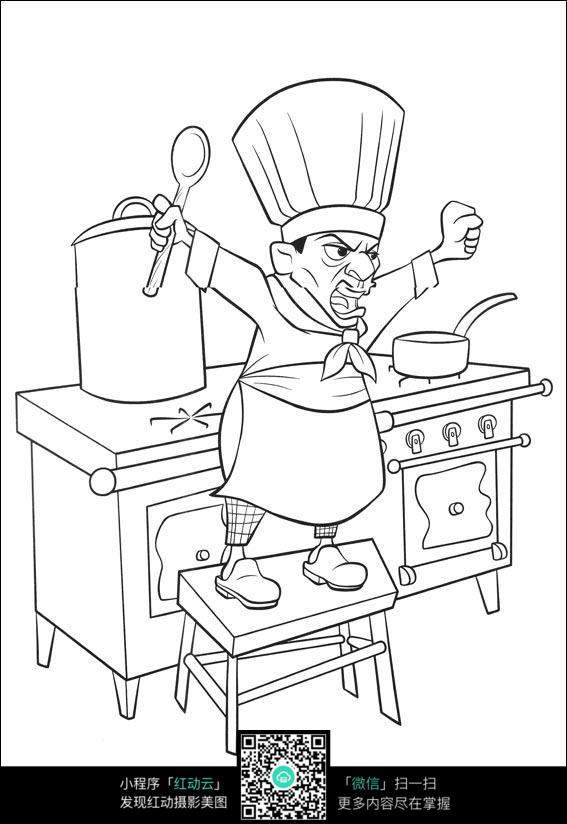 卡通愤怒的厨师手绘线稿图片