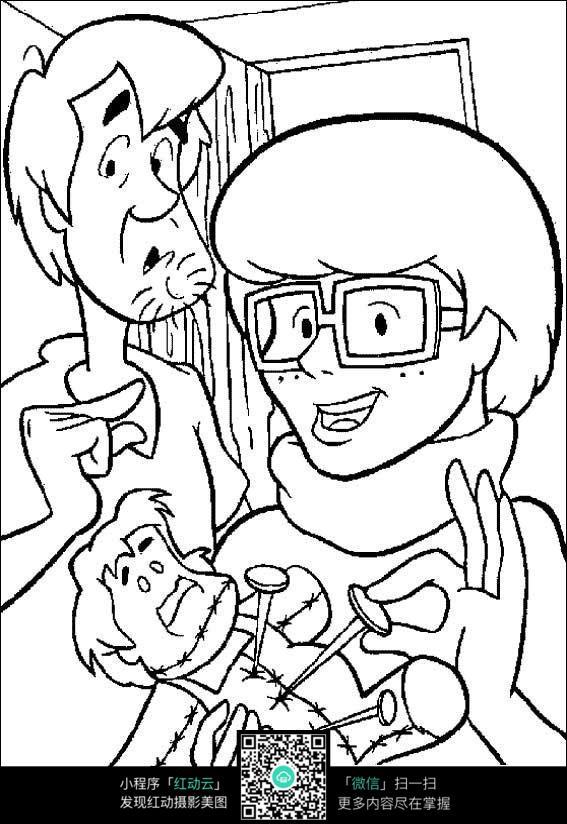 卡通给小人打针手绘线稿图片