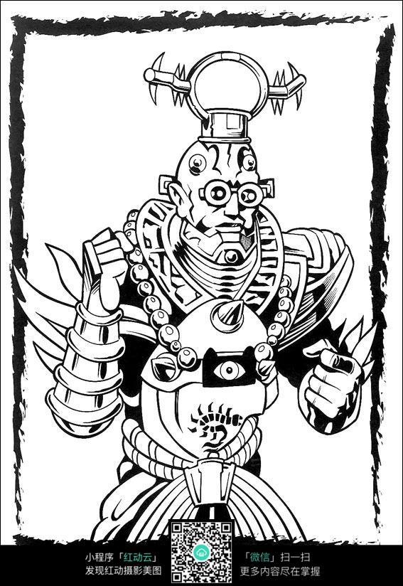 卡通怪兽手绘线稿图片