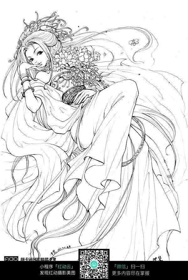 卡通古装游戏美女线描图片