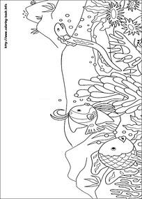 卡通海底鱼水草手绘线稿图片