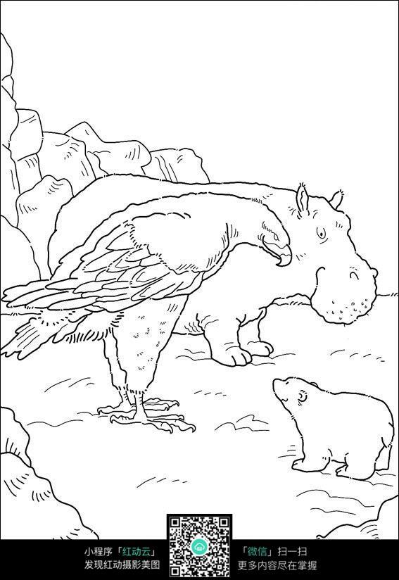 卡通河马北极熊老鹰手绘线稿图片