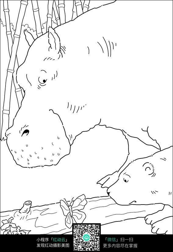 卡通河马手绘线稿图片
