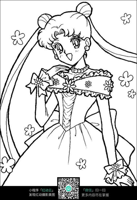 免费素材 图片素材 漫画插画 人物卡通 卡通花仙子美少女手绘线稿图片