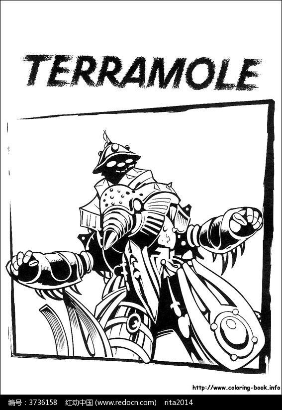 卡通铠甲勇士手绘线稿图片