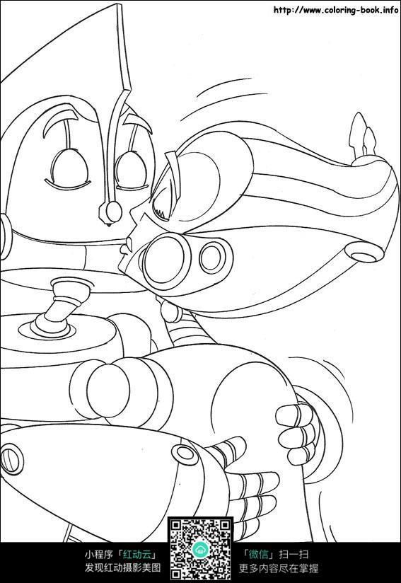 免费素材 图片素材 漫画插画 人物卡通 卡通机器人情侣手绘线稿图片