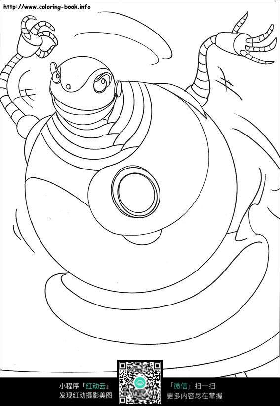 卡通机器人手绘线稿图片_人物卡通图片