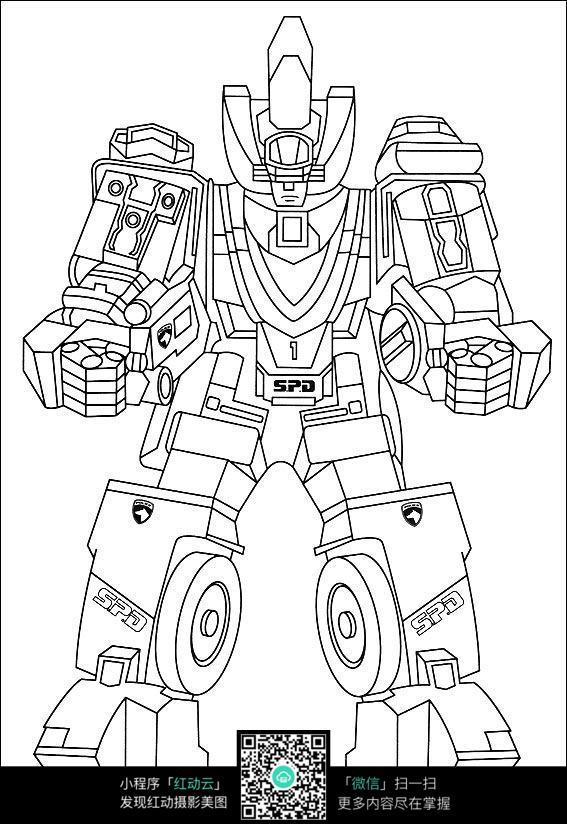卡通机器人手绘线稿图片免费下载 编号3736242 红动网