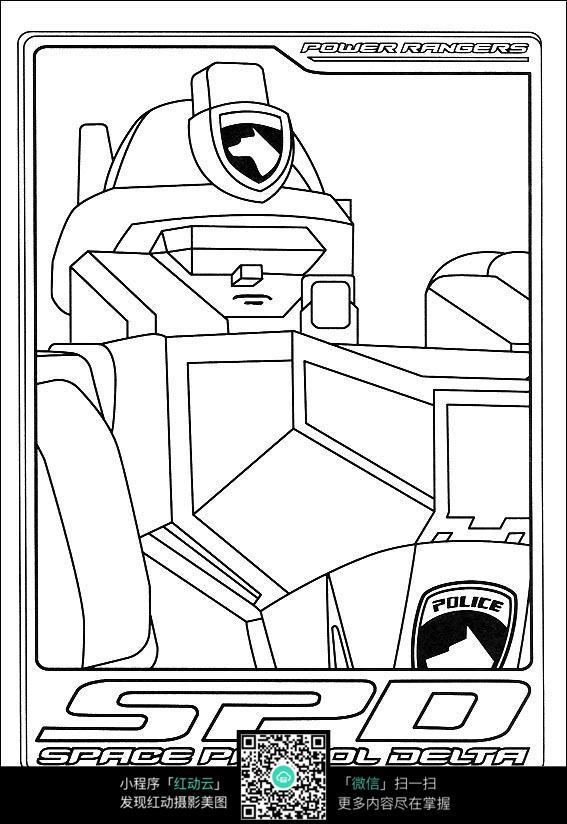 卡通机器人手绘线描图片