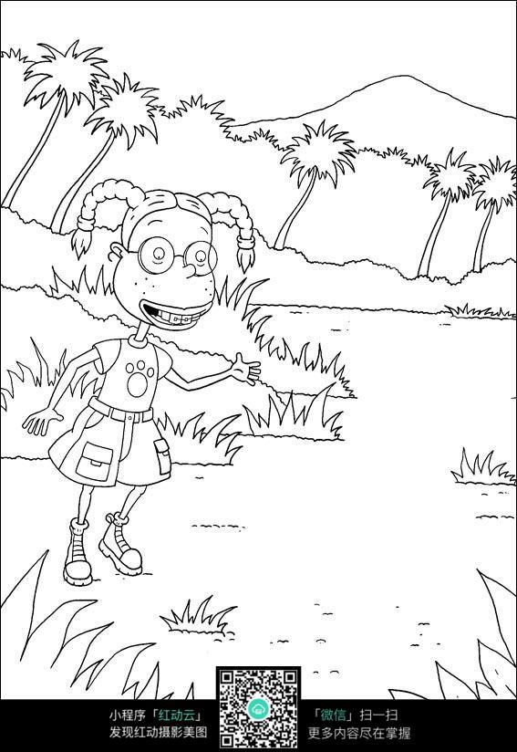 卡通开心的小女孩狗手绘线稿图片