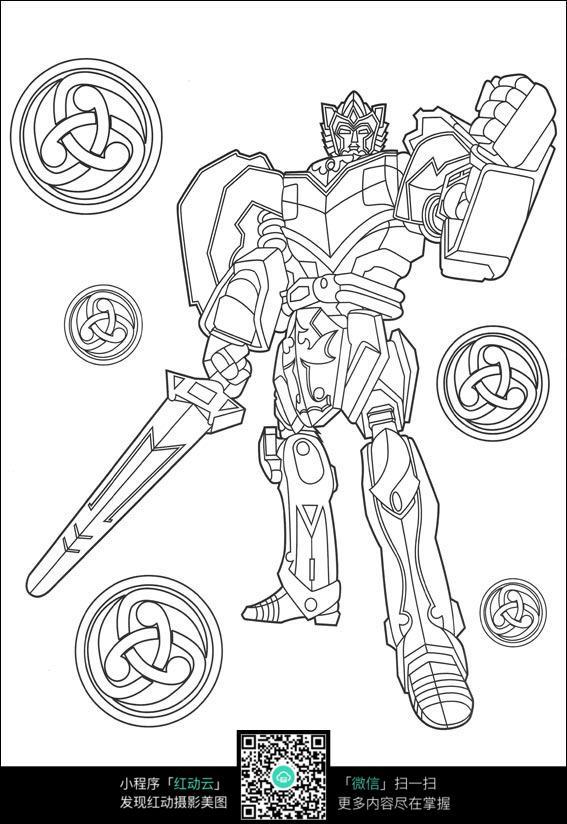 卡通盔甲勇士手绘线稿图片