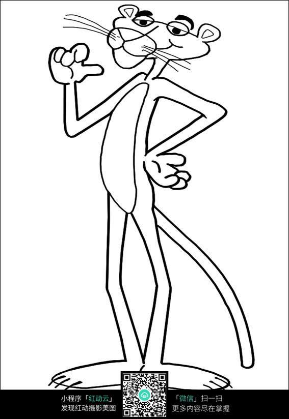 卡通老虎手绘线稿图片