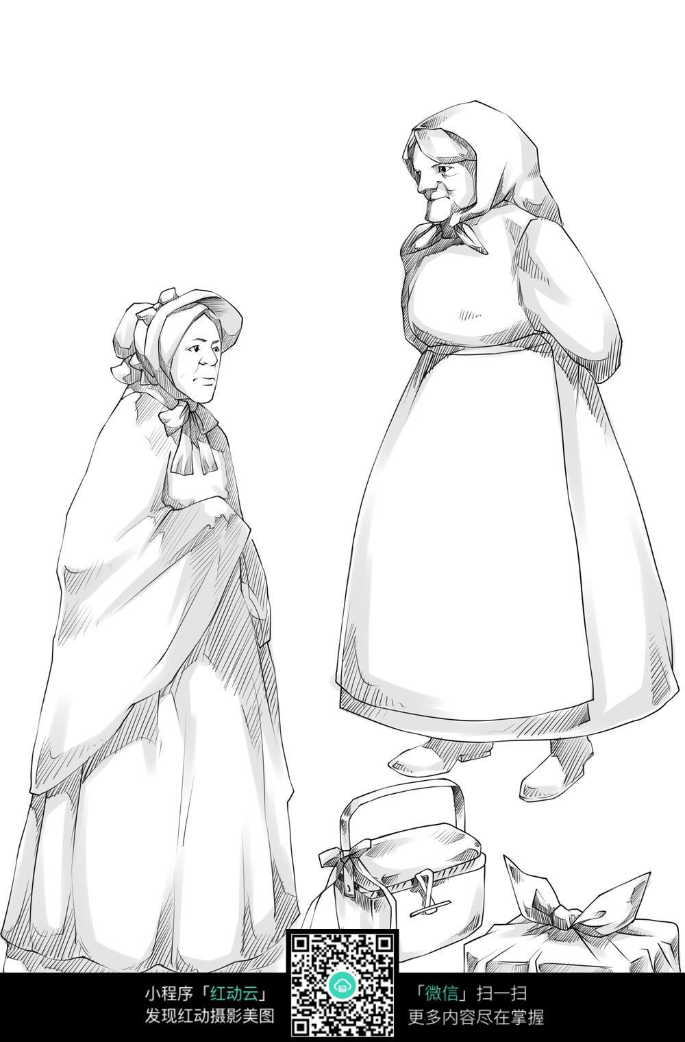 卡通老奶奶手绘线稿图片