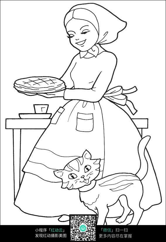卡通烙烧饼的美女小猫手绘线稿图片