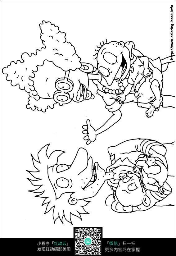 卡通老爷爷老奶奶小孙子手绘线稿图片