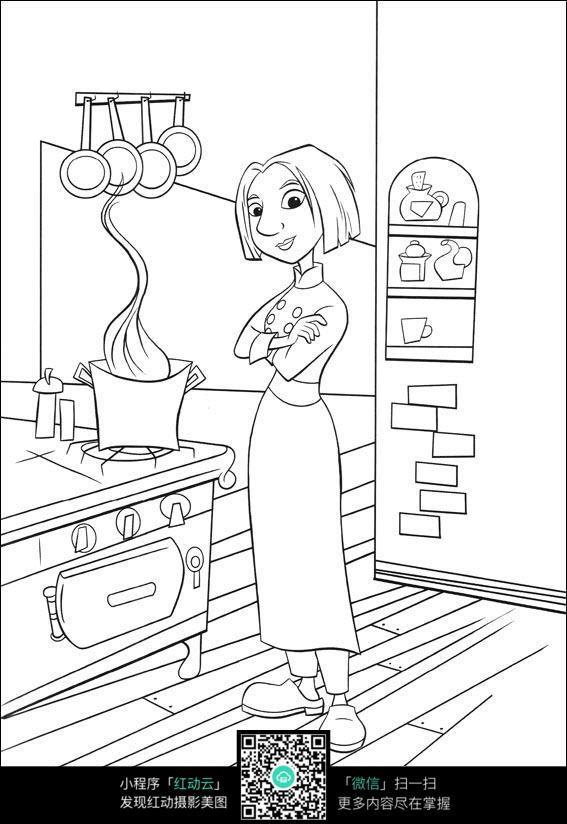 卡通美女厨师手绘线稿图片