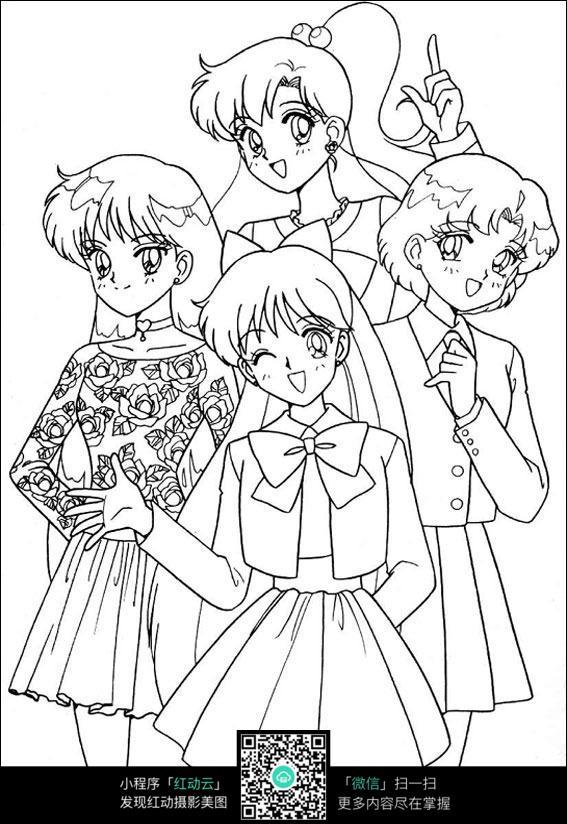 卡通美少女手绘线稿图片