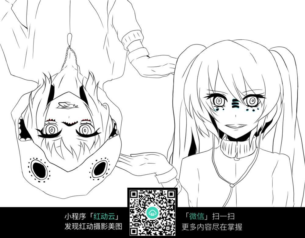 卡通美少女手绘线稿图片_人物卡通图片_红动手机版