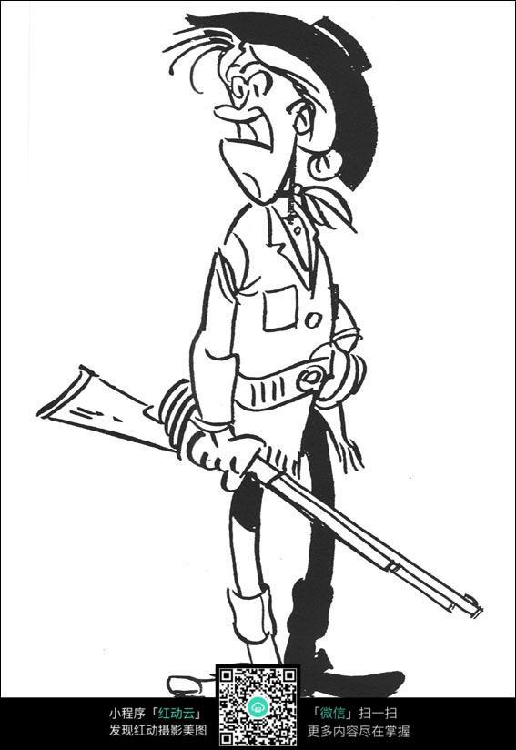 卡通拿枪的猎手手绘线稿图片