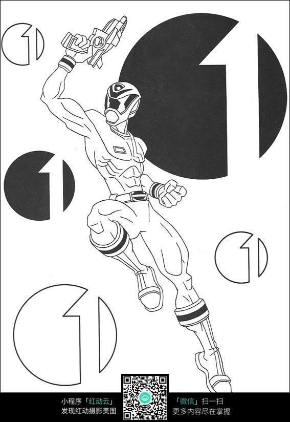 卡通拿枪的赛车手手绘线稿图片