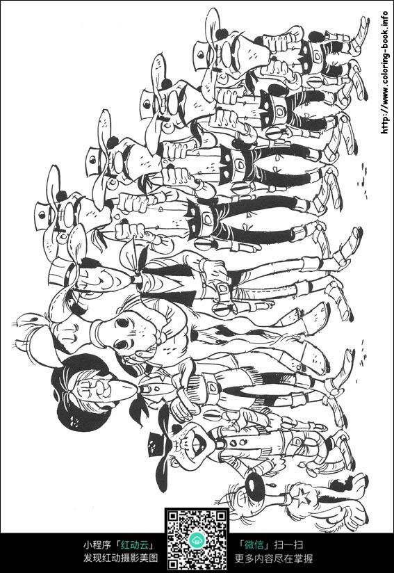 卡通排队的人手绘线稿图片