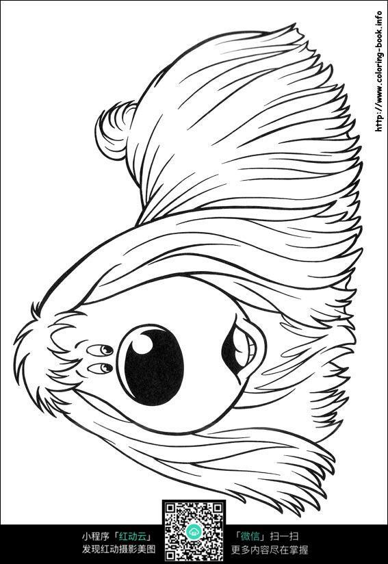 卡通趴着的小狗手绘线稿图片