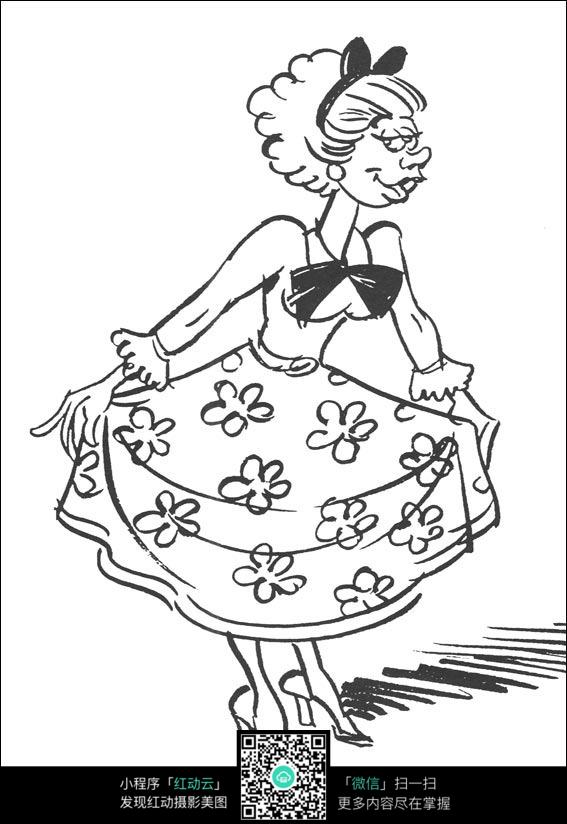卡通牵裙子的大妈手绘线稿图片