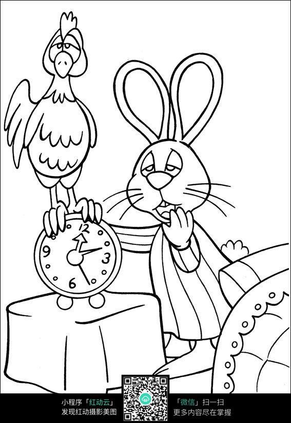 卡通起床的兔子手绘线稿图