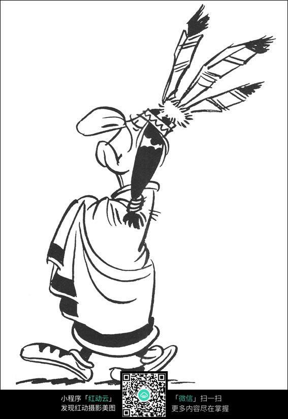 卡通人物手绘线稿图片
