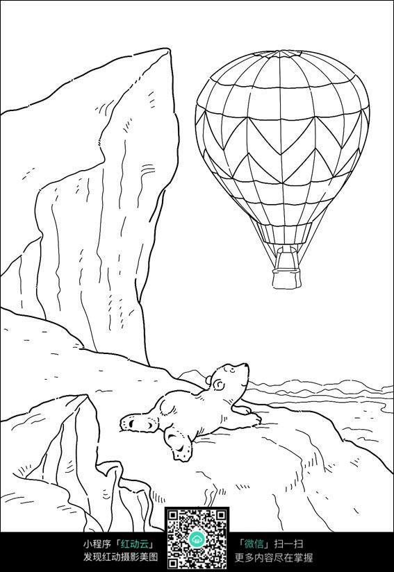 卡通热气球小熊手绘线稿图片