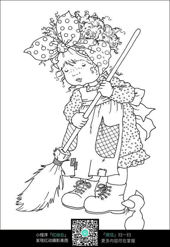 卡通扫地的小女孩手绘线稿图片