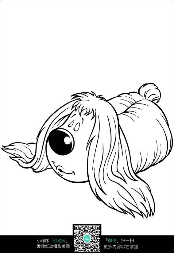 卡通睡觉的小狗手绘线稿图片